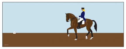 """Dressage rider - Girl"" Digital graphic art and acrylic inks, Limited edition archival pigment print, Edition of 99: 14 x 40 inches, Signed & Numbered"