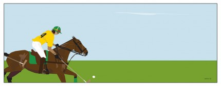 """Going For Goal"" Digital graphic art and acrylic inks, Limited edition archival pigment print, Edition of 99: 14 x 40 inches, Signed and Numbered"