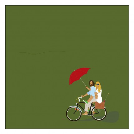 """""""Monsoon Bicycle"""" Digital graphic art and acrylic inks, Limited edition archival pigment print, Edition of 99: 24 x 24 inches, Signed and Numbered"""