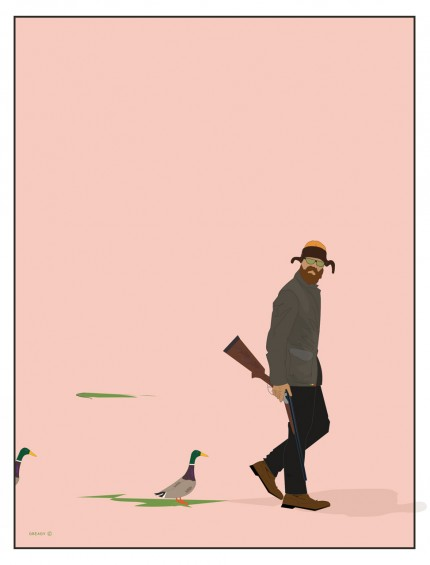 """Out for ducks"" Digital graphic art and acrylic inks, Limited edition archival pigment print, Edition of 99: 24 x 18 inches, Signed and Numbered"