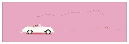 """Porsche 356"" Digital graphic art and acrylic inks, Limited edition archival pigment print, Edition of 99: 14 x 44 inches, Signed and Numbered"
