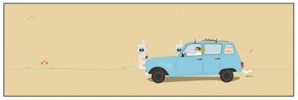 """""""Renault de Palma"""" Digital graphic art and acrylic inks, Limited edition archival pigment print, Edition of 99: 14 x 44 inches, Signed and Numbered"""