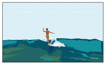 """Surfer Girl / Casa Love Girl"" Digital graphic art and acrylic inks, Limited edition archival pigment print, Edition of 99: 14 x 26 inches, Signed and Numbered"