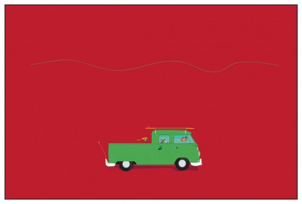 """Vdub Kombi Pickup"" Digital graphic art and acrylic inks, Limited edition archival pigment print, Edition of 99: 20 x 30 inches, Signed and Numbered"