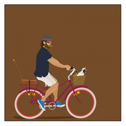 """Bicycle Bwoy"" Digital graphic art and acrylic inks, Limited edition archival pigment print, Edition of 99: 24 x 24 inches, Signed and Numbered"