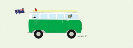 """Vdub Ritz Version"" Digital graphic art and acrylic inks, Limited edition archival pigment print, Edition of 99: 13 x 36 inches, Signed and Numbered"
