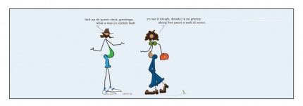 """""""Granny's Skeng Foot Pants"""" Digital graphic art and acrylic inks, Limited edition archival pigment print, Edition of 99: 10 x 32 inches, Signed and Numbered"""