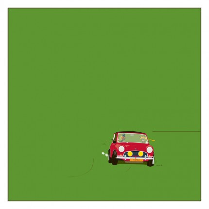 """""""Mini Cooper"""" Digital graphic art and acrylic inks, Limited edition archival pigment print, Edition of 99: 24 x 24 inches, Signed and Numbered"""