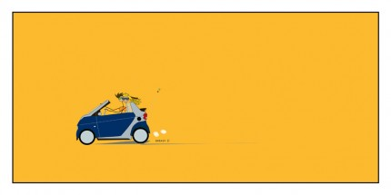 """Smart Car"" Digital graphic art and acrylic inks, Limited edition archival pigment print, Edition of 99: 14 x 30 inches, Signed and Numbered"