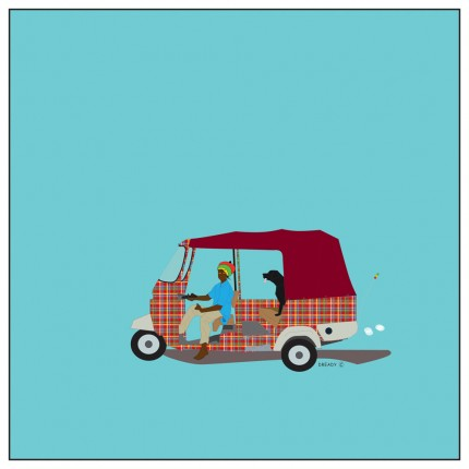 """""""Tuk Tuk"""" Digital graphic art and acrylic inks, Limited edition archival pigment print, Edition of 99: 24 x 24 inches, Signed and Numbered"""