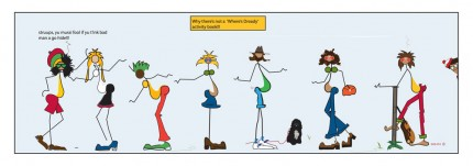 """""""Where's Dready?"""" Digital graphic art and acrylic inks, Limited edition archival pigment print, Edition of 99: 12 x 36 inches, Signed and Numbered"""