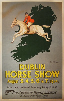 """DUBLIN HORSE SHOW PAN AM"" by Olive Whitmore, 1954, 29 x 39 inches (73 x 99 cm) 
