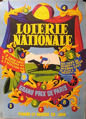 """LOTERIE NATIONALE"" by Lesourt, 1962, 11 x 15 inches (27 x 38 cm) 