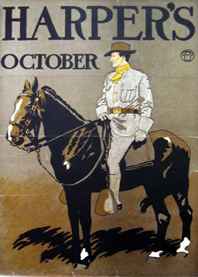 """HARPER'S – OCTOBER"" by Edward Penfield, 1898, 12 x 17 inches (30 x 43 cm) 