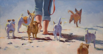 """Little Doggies"" Oil on panel, 12 x 22 inches, Signed"