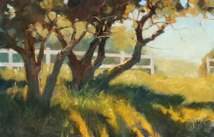 """Old Oaks in the Pasture"" Oil on panel, 13 x 20 inches, Signed"
