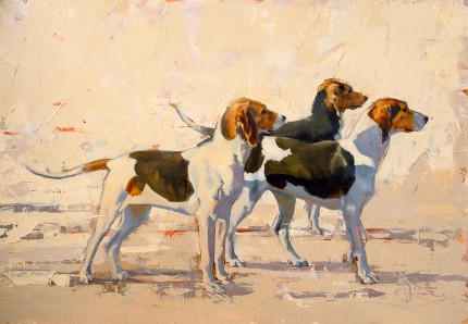 """Three Hounds"" Oil on panel, 17 x 24 inches, Signed"