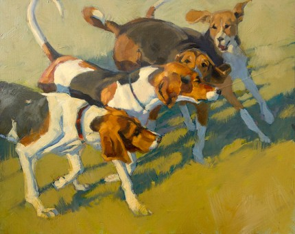 """Young Hounds in the Kennel"" Oil on panel, 16 x 20 inches, Signed"