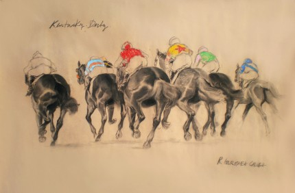 """Kentucky Derby"" Charcoal & Pastel on paper, 33.5 x 47 inches, Signed"