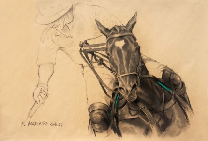 """Polo Argentino I"" Charcoal & Pastel on paper, 33.5 x 47 inches, Signed"