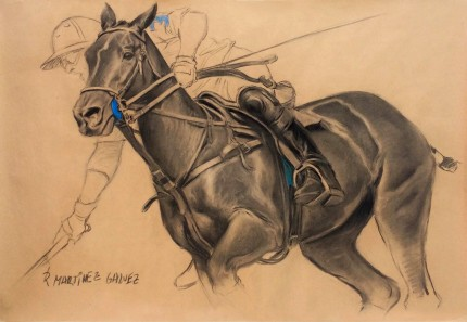"""Polo Argentino II"" Charcoal & Pastel on paper, 33.5 x 47 inches, Signed"