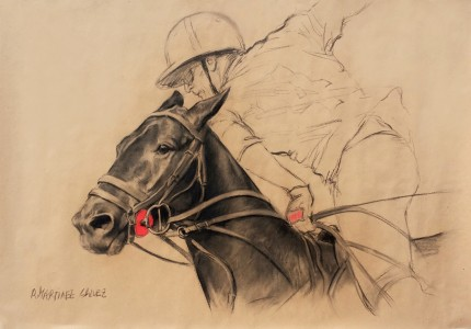 """Polo Argentino III"" Charcoal & Pastel on paper, 33.5 x 47 inches, Signed"