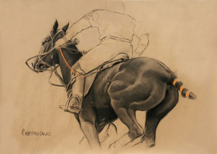 """The Dry Mare"" Charcoal & Pastel on paper, 33.5 x 47 inches, Signed"