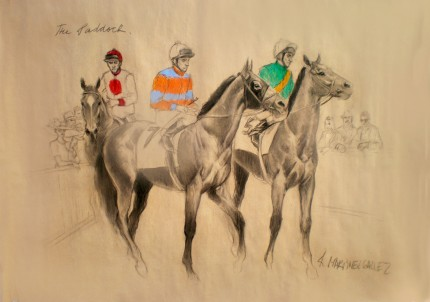 """The Paddock"" Charcoal & Pastel on paper, 33.5 x 47 inches, Signed"