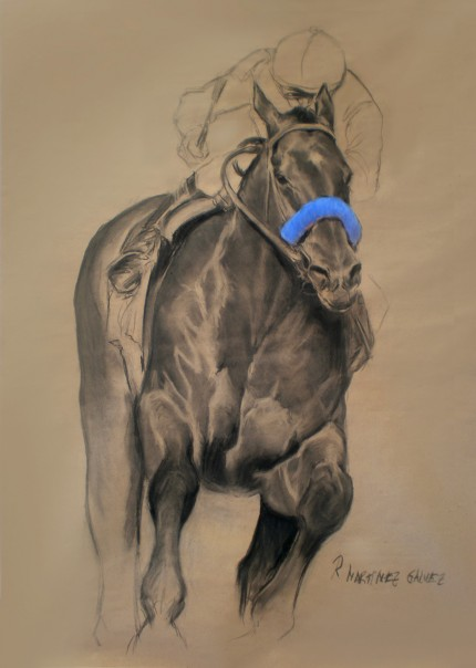 """The Winner"" Charcoal & Pastel on paper, 47 x 33.5 inches, Signed"