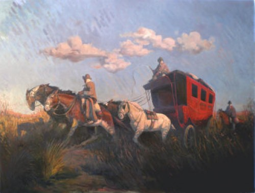"""La Carreta"" Oil on canvas, 31.5 x 47.25 inches, Signed"
