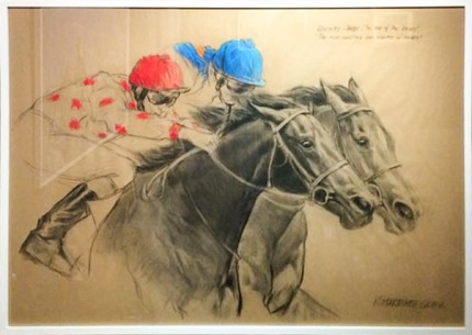 """Jockeys"" Charcoal & Pastel on paper, 33.5 x 47 inches, Signed"