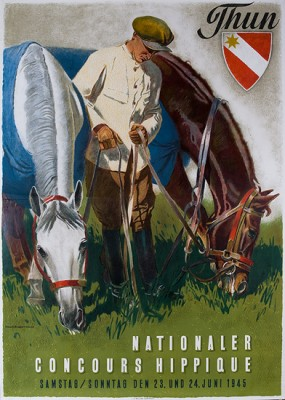 """THUN - NATIONALER CONCOURS HIPPIQUE"" by Iwan E. Hugentobler-Mauerhofer, 1945, 35 x 51 inches (88 x 129 cm) 