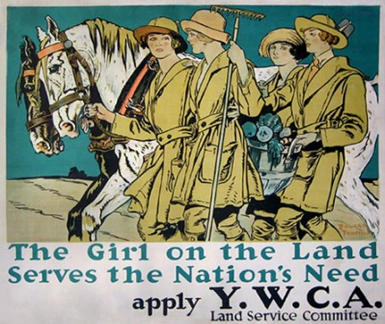 """YWCA THE GIRL ON THE LAND"" by Edward Penfield, c.1917, 32 x 22 inches (81 x 55 cm)"