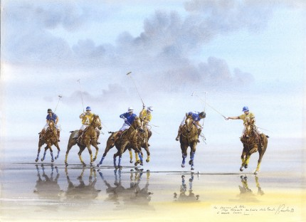 """""""Polo on the Beach II"""" Watercolour on paper, 10.5 x 15 inches, Inscribed, Signed & Dated '92 