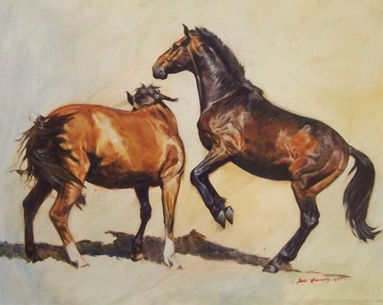 """""""Coco & Zulu"""" 1985, Oil on Canvas, 19 x 25 inches, Signed & Dated 