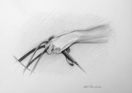 """""""Polo Drawing I"""" Graphite on paper, 11.7 x 16.5 inches, Signed"""