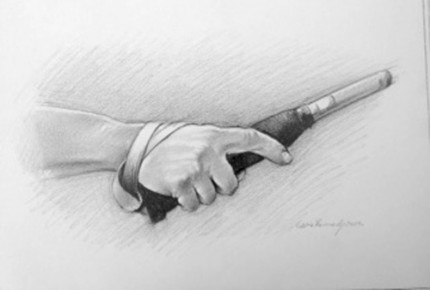 """""""Polo Drawing II"""" Graphite on paper, 11.7 x 16.5 inches, Signed"""