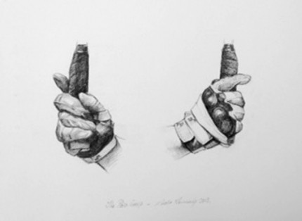 """""""Polo Drawing IV"""" Graphite on paper, 11.7 x 16.5 inches, Signed"""