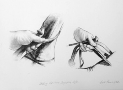 """""""Polo Drawing V"""" Charcoal on paper, 11.7 x 16.5 inches, Signed"""
