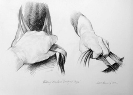 """""""Polo Drawing VI"""" Charcoal on paper, 11.7 x 16.5 inches, Signed"""