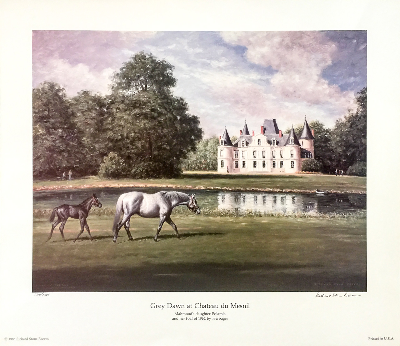 """Grey Dawn at Chateau du Mesnil"" Edition: 1714 of 2000, 16.75 x 19.25 inches, Signed & Numbered"