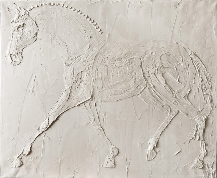 """""""Dressage Horse"""" 2016, Titanium White oil on canvas, 30 x 40 inches, Signed lower right"""