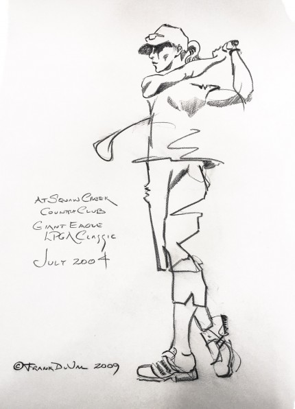"""At Squaw Creek Country Club, Giant Eagle LPGA Classic, July 2004"" 2009, Charcoal on paper, 22 x 15 inches, Inscribed middle left, Signed and dated lower left"