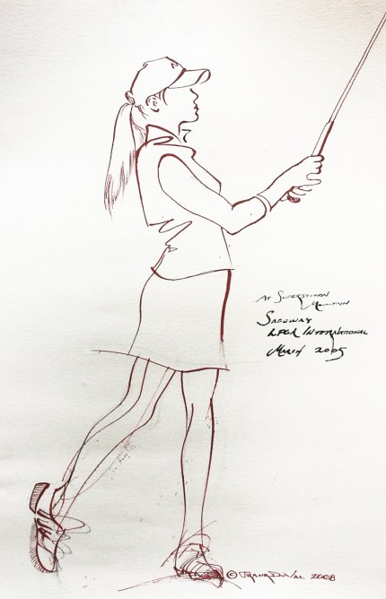 """At Superstition Mountain, Safeway LPGA International, March 2005"" 2008, Ink on paper, 22 x 14 inches, Inscribed middle right, Signed and dated lower right"