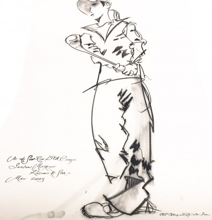 """At the ShopRite LPGA Classic, Seaview Marriott Resort & Spa, May 2005"" Charcoal on paper, 30 x 22 inches, Inscribed lower left, Signed lower right"