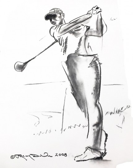 """Sketch of Sherri Steinhauer"" 2008, Charcoal on paper, 22 x 14 inches, Signed and dated lower left"