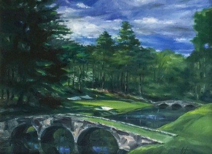 """Augusta National #12"" Oil on canvas, 9 x 12 inches, 17 x 20 inches, Signed lower right"