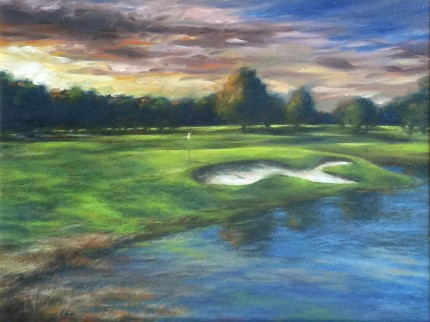 """Dawn, Hickory Hills, OH #13"" Oil on canvas, 12 x 16 inches, 20 x 24 inches, Signed lower left"