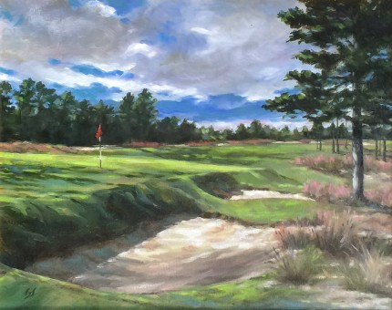 """Dormie Club, NC"" Oil on canvas, 11 x 14 inches, 19 x 22 inches, Signed lower right"