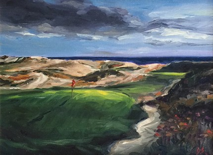 """Maidstone Club, Long Island"" Oil on canvas, 9 x 12 inches, 17 x 20 inches, Signed lower right"
